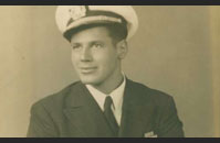 Photograph of Murray M. Blum in his United States Merchant Marine uniform. Location unknown. 1940s.