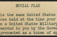Burial flag message that was enclosed in the box with Blum's burial flag.