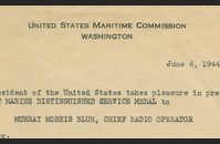 Citation for the Merchant Marine Distinguished Service Medal awarded to Murray Blum dated 6 June 1944.