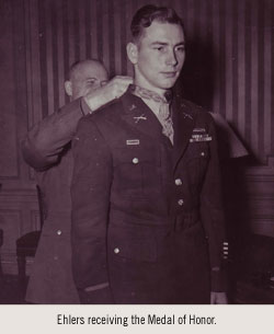 Ehlers receiving the Medal of Honor