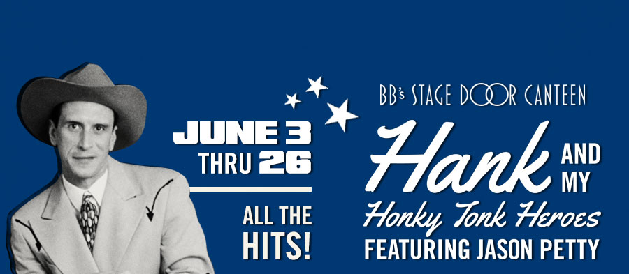 'Hank and My Honky Tonk Heroes Featuring Jason Petty' at BB's Stage Door Canteen. June 3-26