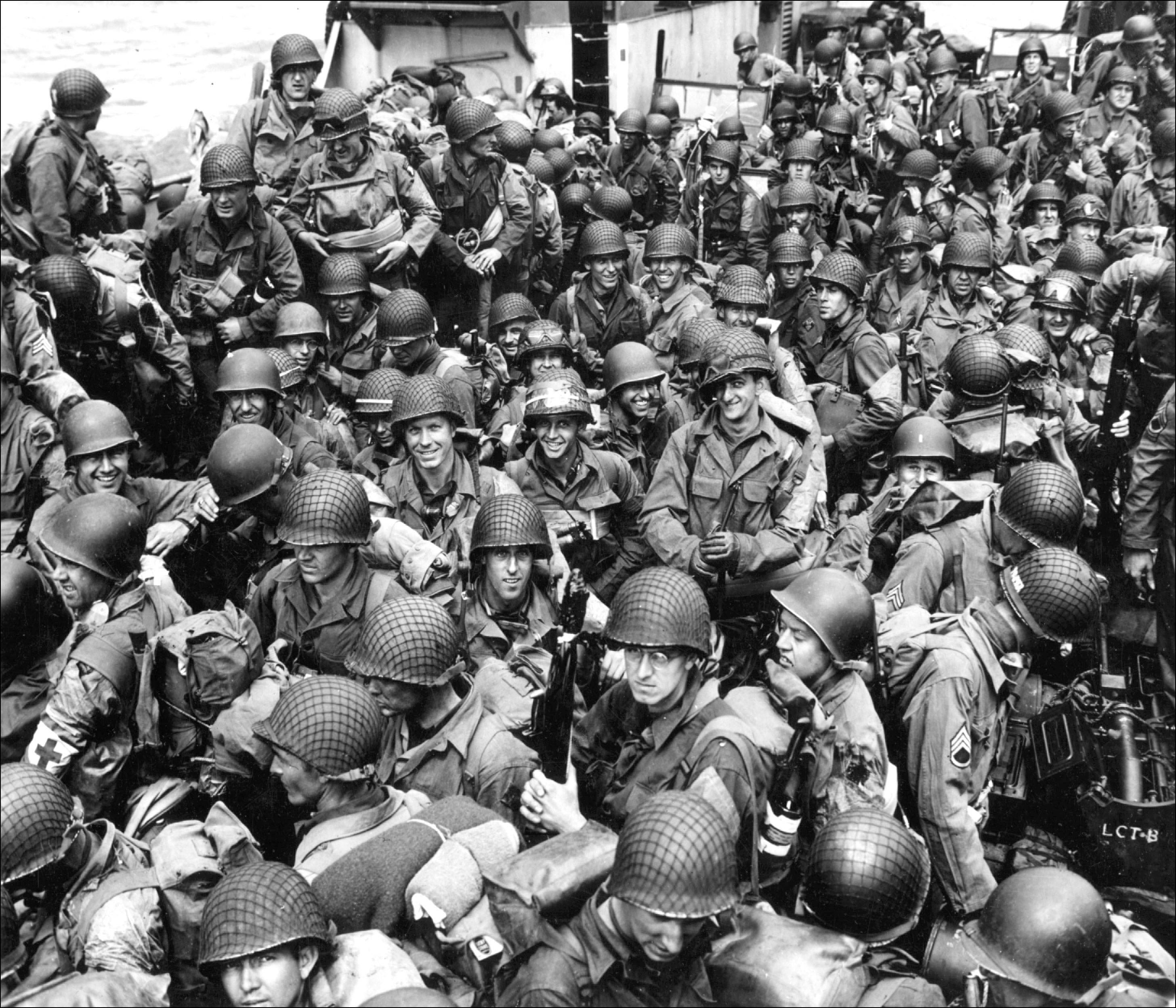 Members of the 101st Airborne Infantry Division and the 4th Infantry  Division crowd aboard an LCT on the way to Utah Beach, June 6, 1944. [2912  × 2496] : MilitaryPorn