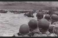 Omaha D-Day - American GIs heading toward the shoreline of Omaha Beach around June 7, 1944.